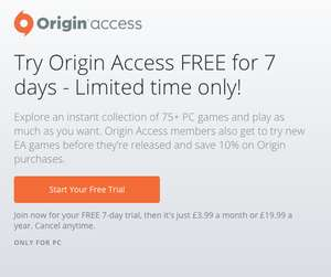 [PC] Origin Access 7 Day Trial (Now includes Warner Bros. Titles) - EA