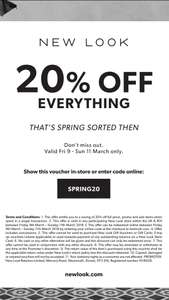 New Look 20% off everything starting 9th march to 11th march