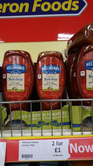 Hellmanns tomato ketchup 473g 2 for £1 @ heron foods