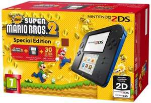 Nintendo 2DS Black & Blue w/ New Super Mario Bros 2 / Tomodachi Life / Mario Kart - £58.99 - Grainger Games