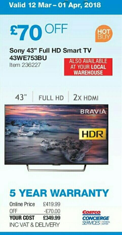 "Sony 43WE753BU 43"" smart tv 5 year warranty - £349.98 @ Costco"