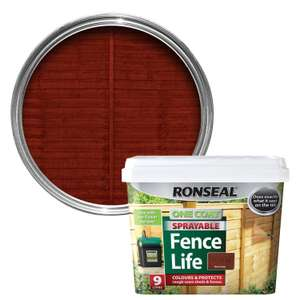 ronseal red cedar sprayable 9 litres £8 + £5 delivery £13 delivered @ B&Q