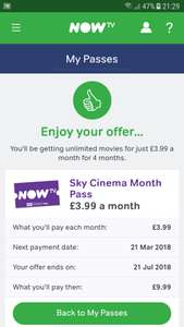 Retention Deal - Now TV movies £3.99 per month for 4 months (account specific)