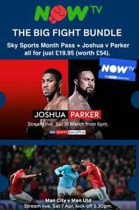 Now tv big fight bundle (month sports and Joshua fight) £19.95 @ Now TV /Sky