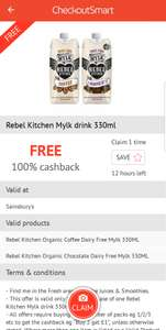 Free Rebel Kitchen Mylk Drink 330ml £1.30 at Sainsbury  - free via CheckoutSmart App