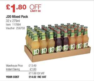 J2O mixed pack (32 bottles) £14.02 @ Costco warehouse.