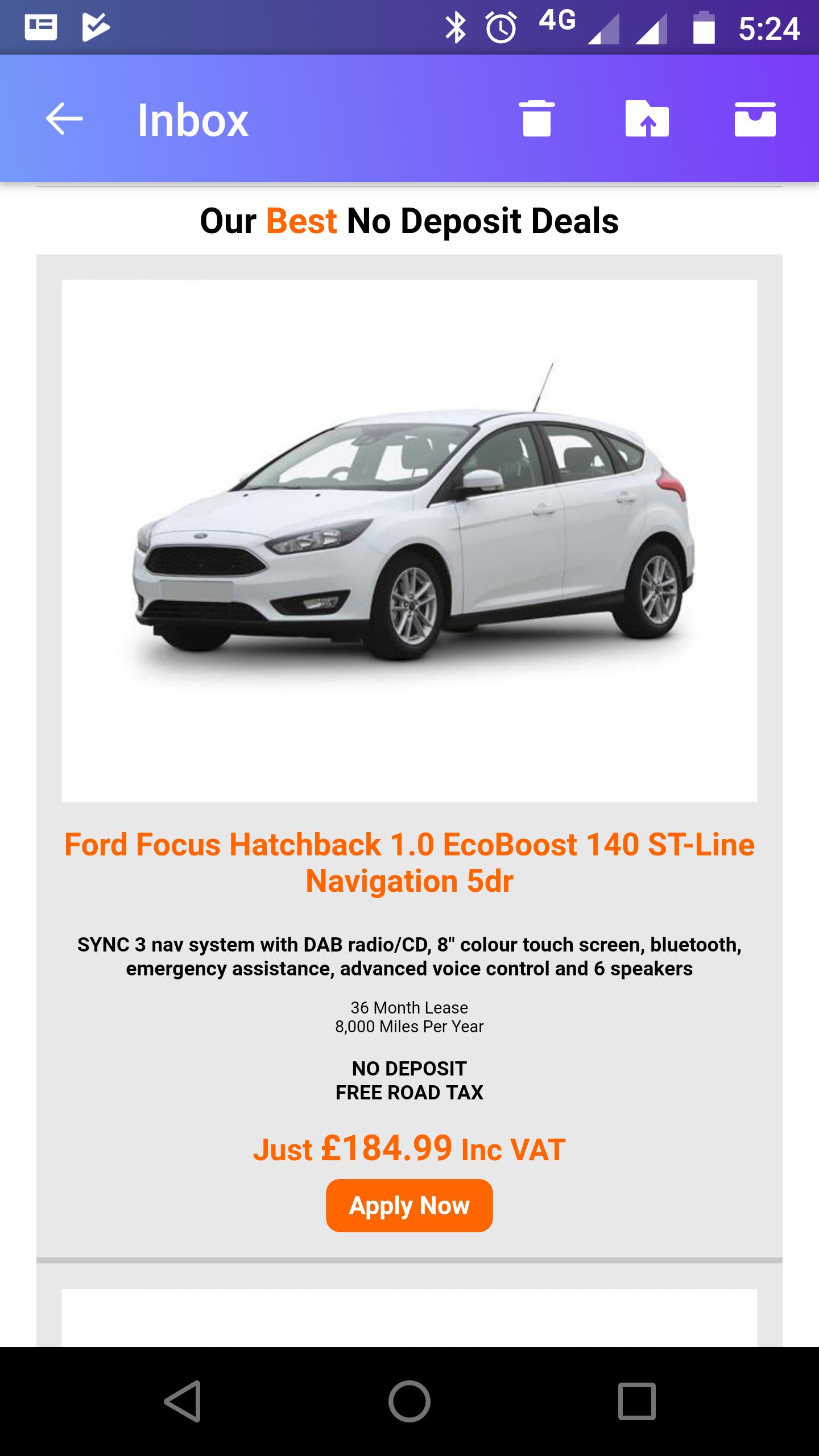 Ford Focus Hatchback 1.0 EcoBoost 140 ST-Line Navigation 5dr 6960 36m @ Yes-lease