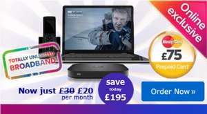 Sky Broadband £20pm with £75 Mastercard  & £80 Quidco (£9.95 setup) £7.90 a month, 12m.