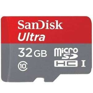 SanDisk 32GB Micro SD SDHC Ultra Memory Card UHS-1 80mb/sec CLASS 10 - with Adaptor @ebay via picstop