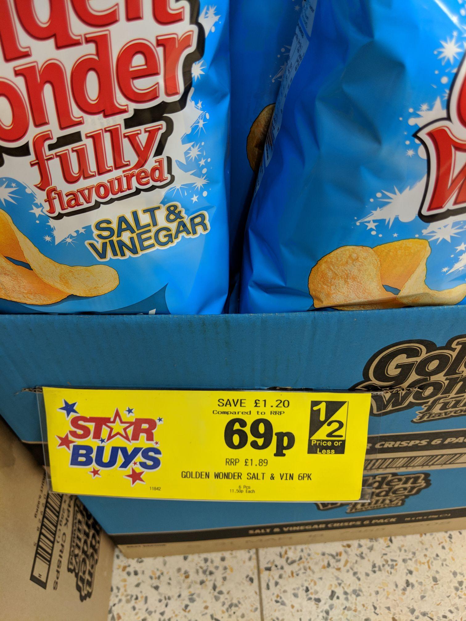 Golden Wonder Crisps 6 Pack 69p @ Home Bargains