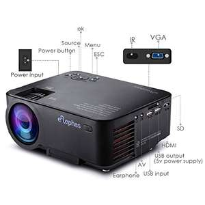 ELEPHAS Multimedia LED Mini Video Projector for Home Theater Support 1080P PC Laptop PS4 iPhone Android Smartphone Xbox and TV Box etc, Black - £58.64 - Sold by Glomark Source / Fulfilled by Amazon