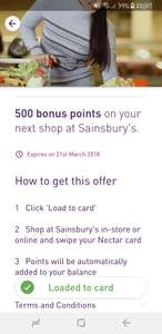 500 Nectar points on next Sainsbury's shop (Account Specific)