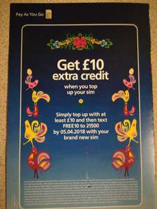 O2 International Pay & Go sim card (Topup £10 get £10 extra once you top up) +TcB  £10.10 = PSN credit on the cheap!