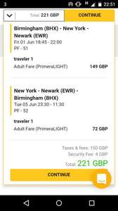 BIRMINGHAM TO NEW YORK FLIGHTS RETURN £221 (plenty of dates available) @ Primera Air