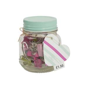 Binder clips, bulldog clips, paper clips or wooden pegs in glass jar NOW 30p @ Wilko instore & online