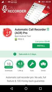 Automatic Call Recorder (ACR) Pro​, from £3.49p, but currently free (for 3 day), at Google Play