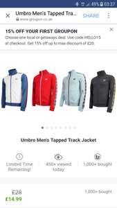 Umbro mens tapped track jacket £14.99 + £1.99 Del @ Groupon