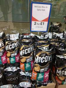 2 x McCoys Ridge Cut Nice & Spicy 6 pack - £1 @ Heron foods