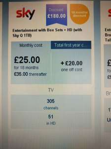 SKY entertainment pack with HD box sets - £25 pm - 18 months (£450) instore at carphone warehouse