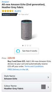 Buy 2 amazon echo and get £25 off - £77.49 each - £154.98 @ Amazon