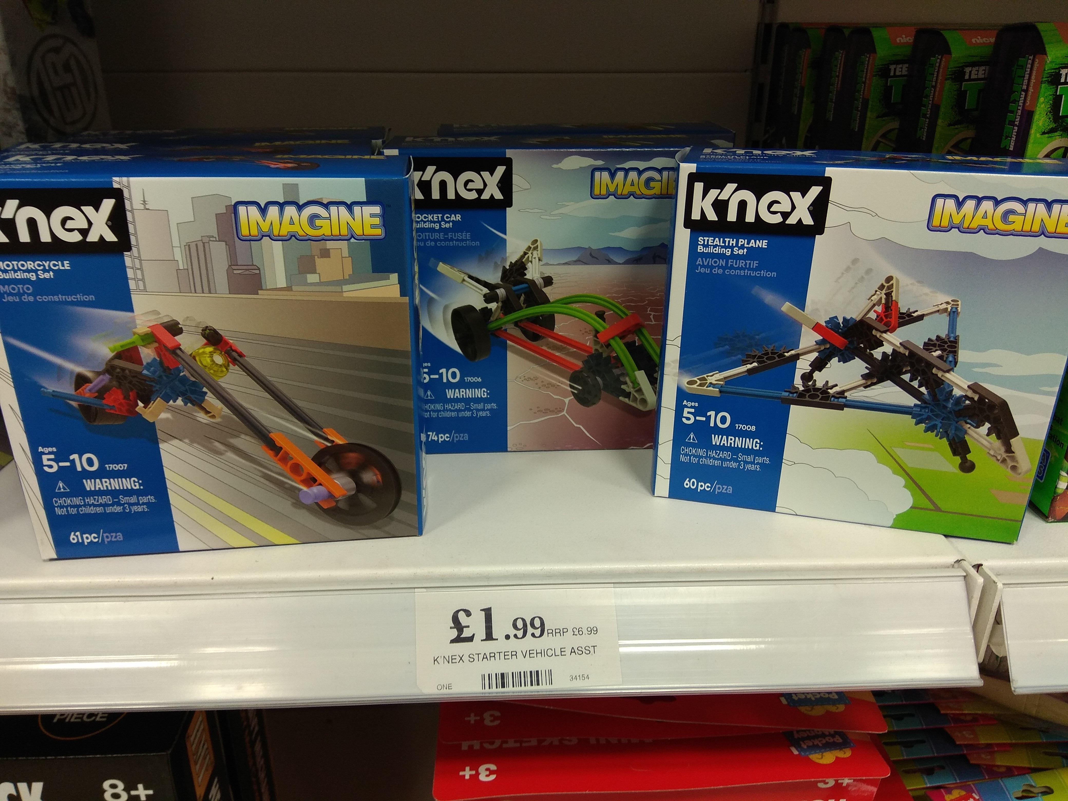 Home Bargains K'Nex Imagine Building Kits - Rocket Car, Stealth Plane & Motorcycle. £1.99 each.
