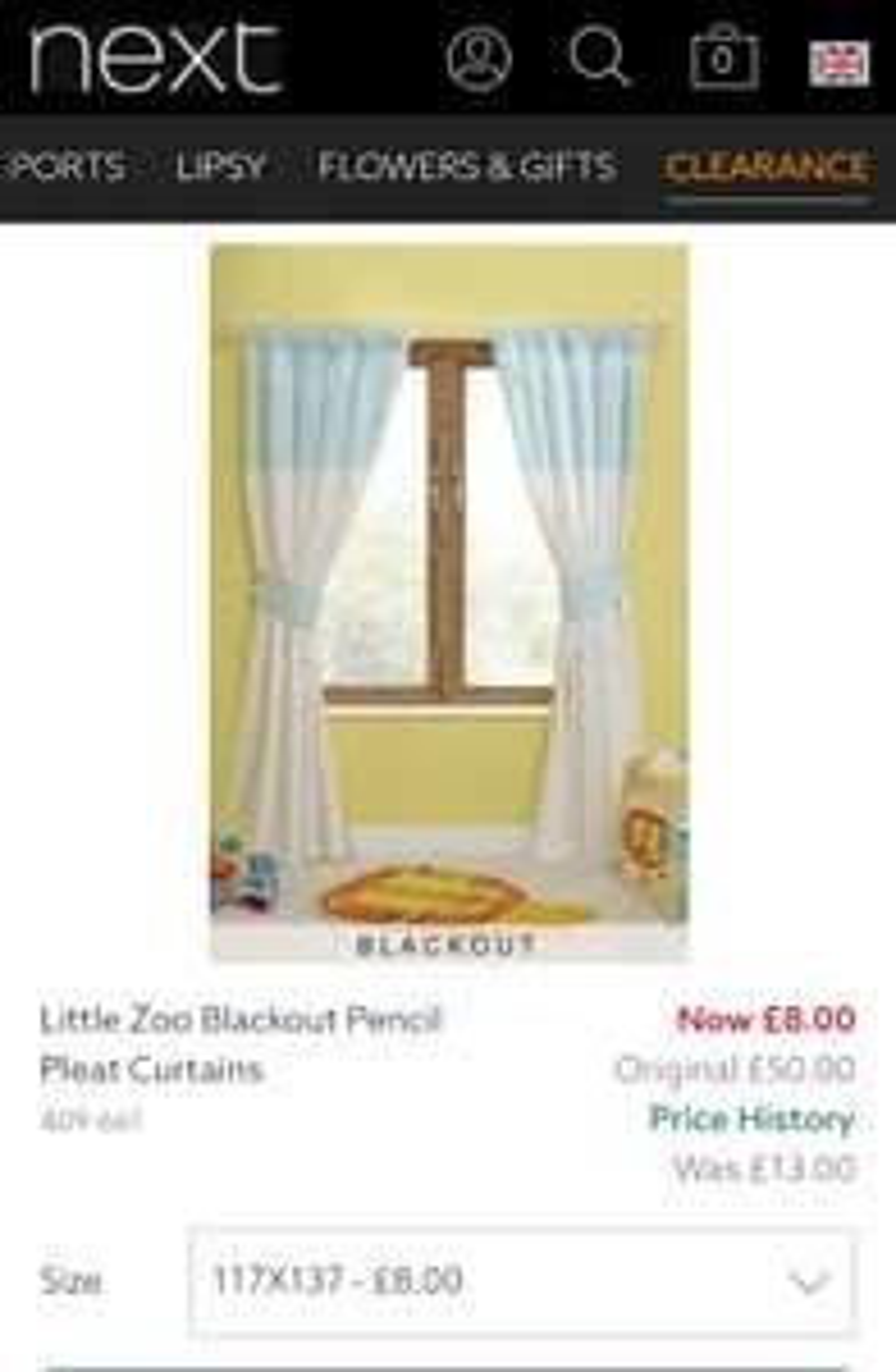 NEXT- Little Zoo Blackout Pencil Pleat Curtains: £8