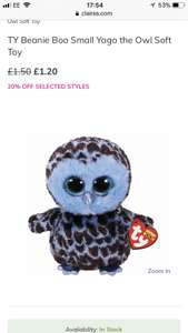 Owl beanie boo £1.20 @ Claire's free click & collect