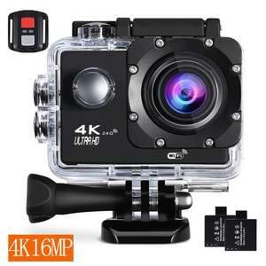 Action Camera 4K 30Fps Sports Cam - BUIEJDOG 16MP Action Cam HD WiFi Waterproof Camcorder with 170°Wide Angle Lens 2 Rechargeable Batteries Remote Control and 18 Mounting Accessories Kits £28 Sold by Toptek Direct and Fulfilled by Amazon