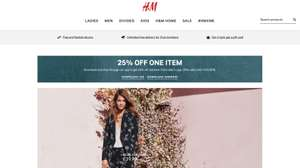 25% off an item when you download app @ H&M