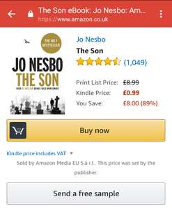 The Son (Jo Nesbo) Kindle edition for 99p today at Amazon