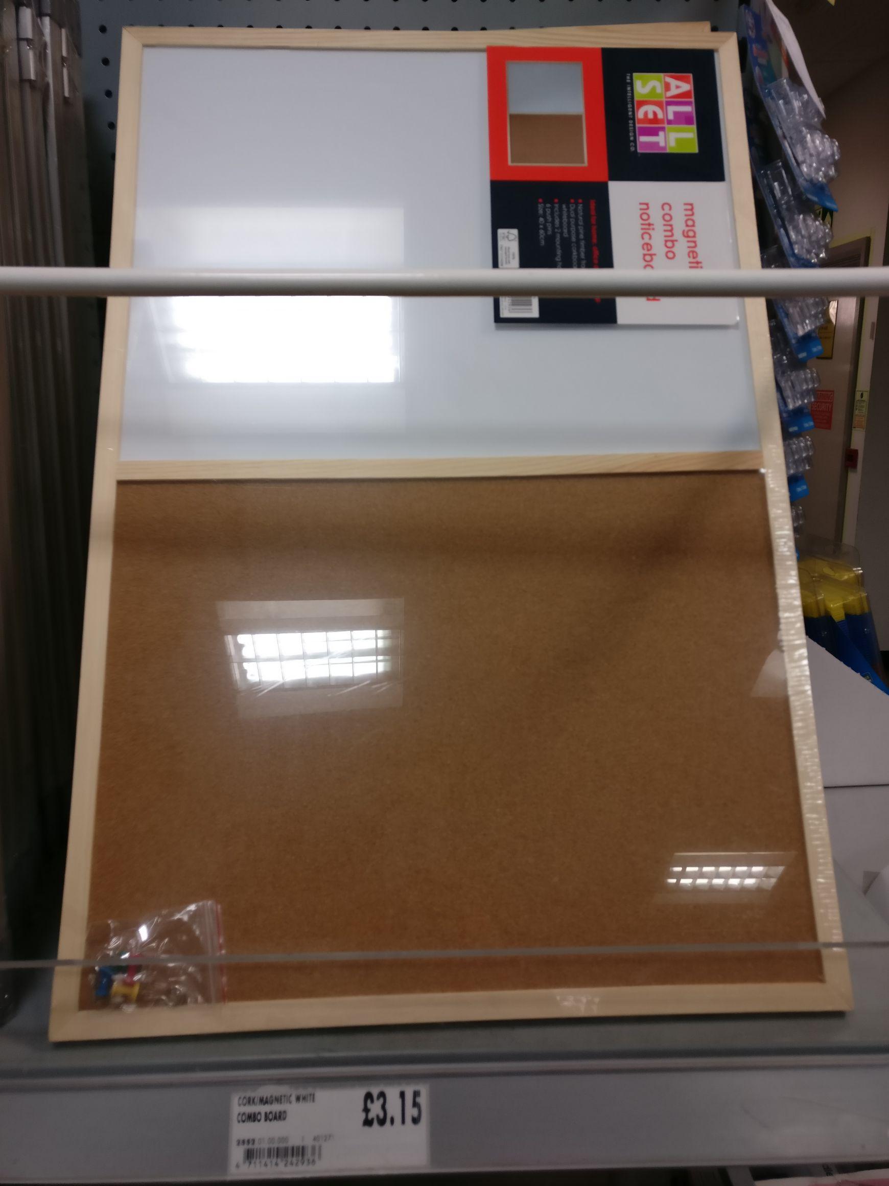 Magnetic whiteboard/noticeboard combo £3.15 @ Homebase