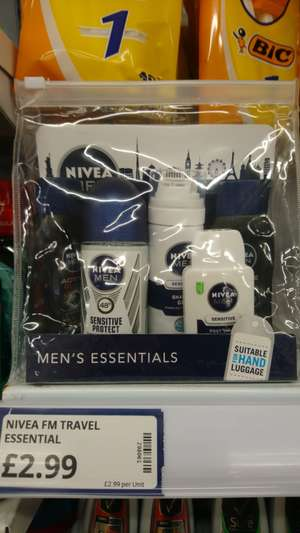 Nivea mens essentials pack suitable for hand luggage £2.99 @ Poundstretcher
