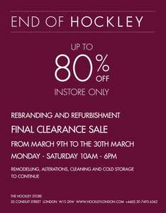 clearance sale at hockley in london - up to 80% off - instore only