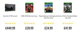 Xbox One X + PUBG, Gears Of War 4 & WWE 2K18 £449.99 @ Argos