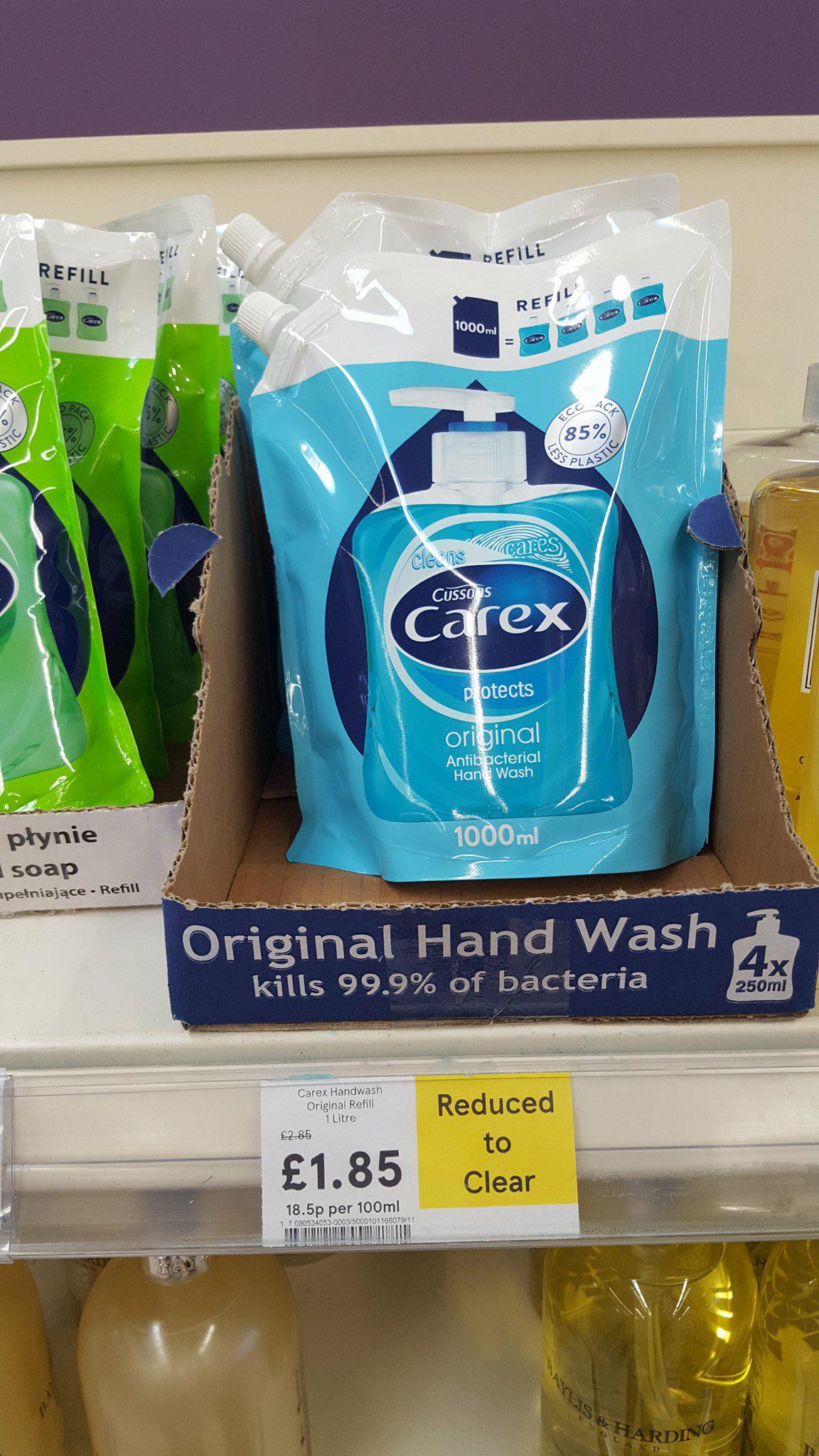 Carex original antibacterial handwash 1 litre refill £1.85 (Tesco)