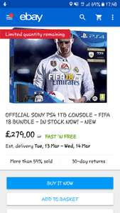 PS4 Pro new with FIFA 18 £279 gamesdirectlimited / Ebay