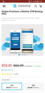 2TB & 3TB Lifetime online (Cloud) storage at StackSocial for £45