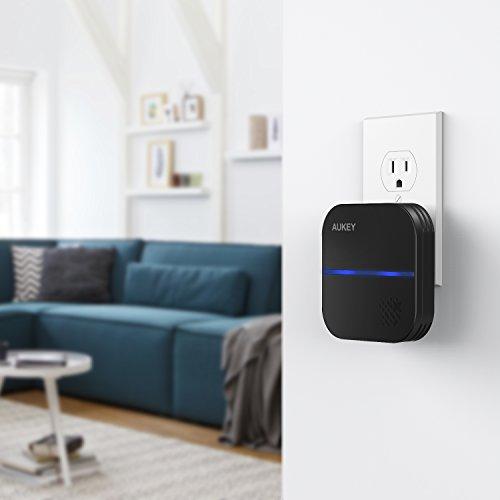 AUKEY Wireless Doorbell IP55 Waterproof Plug-in Cordless Door Chime Kit at Amazon Prime £8.99 (£12.98 non Prime)