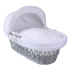 Clair de Lune Grey Wicker Moses Basket (Dimple White) at Precious Little One for £33.95