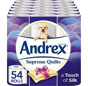Andrex supreme quilts 54 rolls with 15% off voucher for subscribe and save at Amazon for £18.91 Prime (£23.90 non Prime)