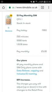 iD Sim Only £5 A Month 1.5GB Data 250 Mins 5000 Texts - 1 month contract