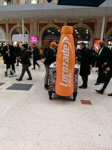 Free Lucozade energy 150ml can and 50p off voucher inside @ Waterloo Station