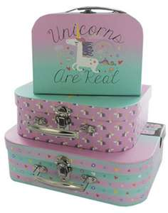 Various storage cases - 3 pack (inc unicorns, Alice in wonderland) £7 or 2 for £10 @ The Works. Free C&C