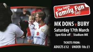 Cheap MK dons v Bury tickets on Saturday 17th March 3pm £12