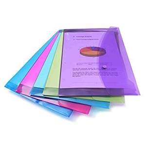 Rapesco Popper Wallet - A4/Foolscap. Assorted Transparent Colours, Pack of 5. Was £6 Now £1.60 *add on item* @ Amazon