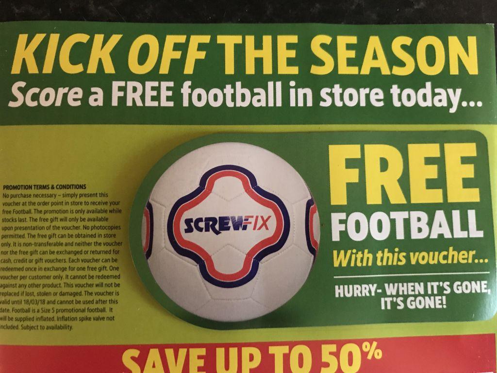 Free Screwfix Football - Voucher via post