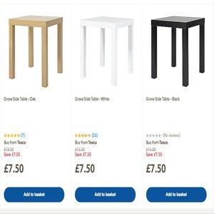 Grove side table - choice of White / Black / Oak effect £7.50 @ Tesco Direct
