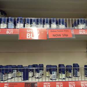DULUX tester pots 10p usually £1.60 in B&M