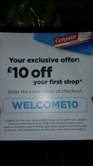 £10 off £40 new customers@ Amazon prime now