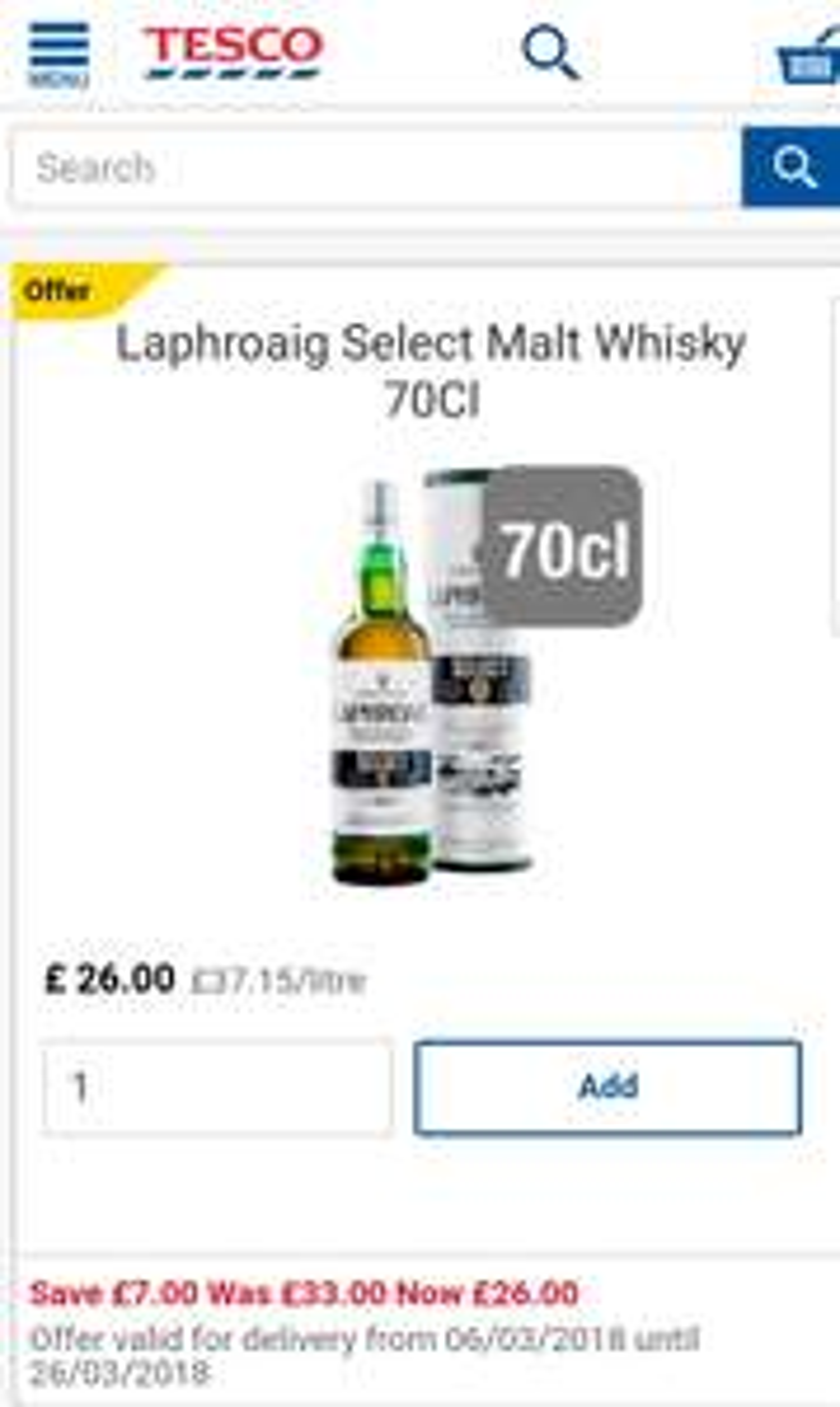 Laphroaig Select Malt 70cl Whisky £26 @ Tesco